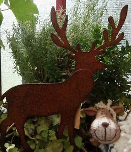 Edelrost-Hirsch-Rentier-Beetstecker-Gartenstecker-braun-12x14cm-Christmas-Deko