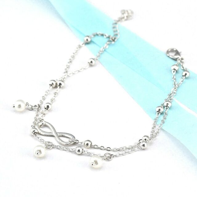 Ankle Bracelet 925 Silver Plate Beach Anklet Foot Jewellery Infinity Pearl Chain