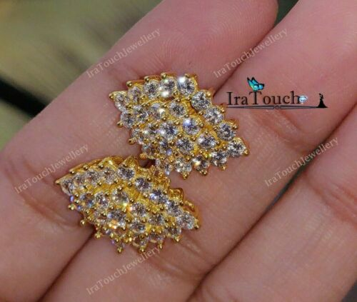 2 Ct Round Cut Diamond Engagement Cluster Stud Earrings 14K Yellow Gold Finish