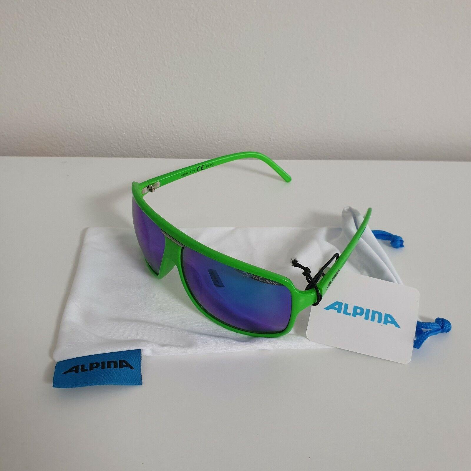 Sportbrille Sonnenbrille Black matt Blau Grün verspiegelt