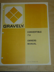 gravely convertible 7 6 tractor owners manual ebay