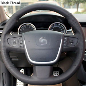 New-DIY-Sewing-on-PU-Leather-Steering-Wheel-Cover-Exact-Fit-For-Peugeot-508