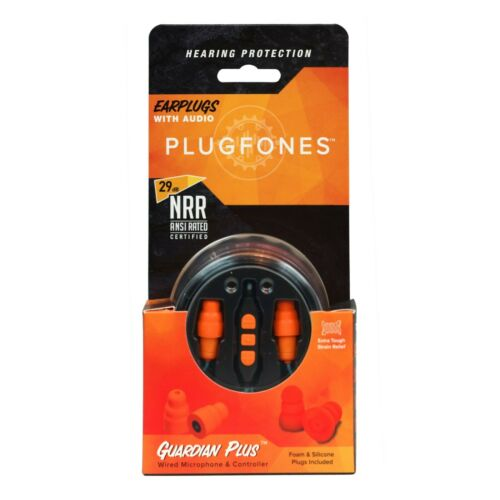 Plugfones Guardian Plus Earplugs with Audio 29 dB NRR /& Noise Isolating Mic