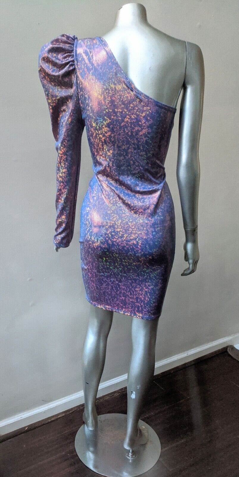 ONE SHOULDER PUFFED SLEEVE IRRIDESCENT SPARKLING … - image 4