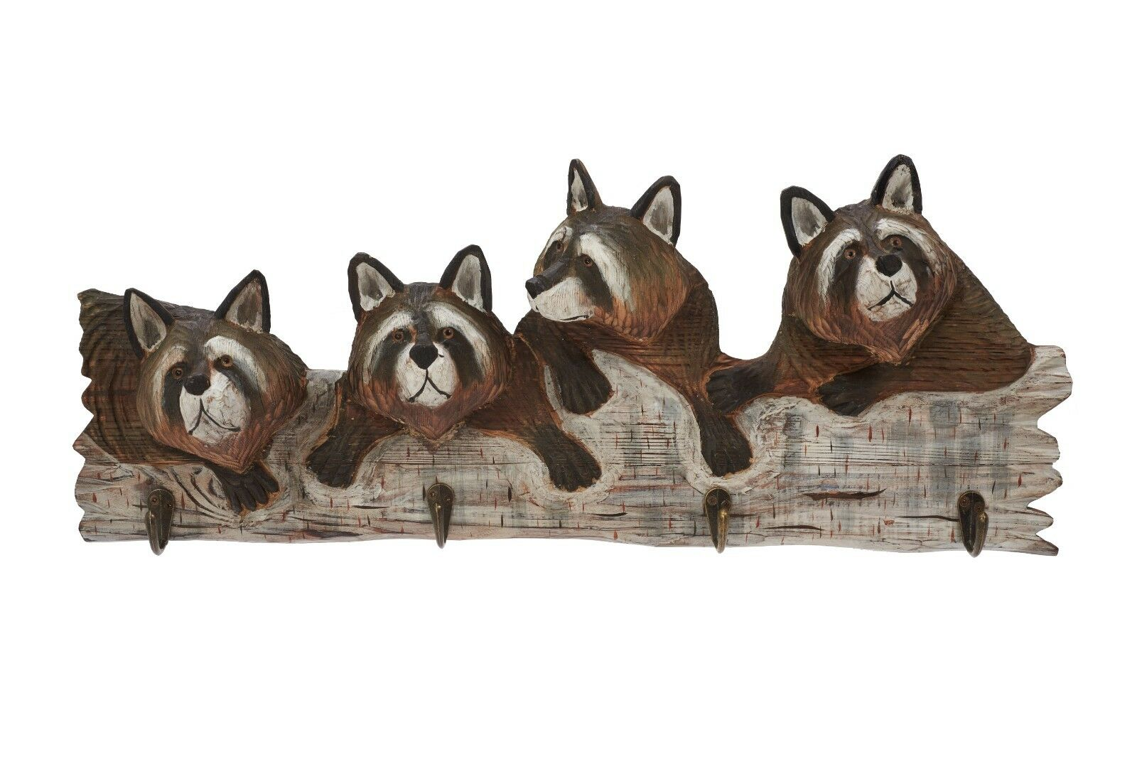 Raccoon Wood Carving Wall Hooks Cabin Rustic Decor