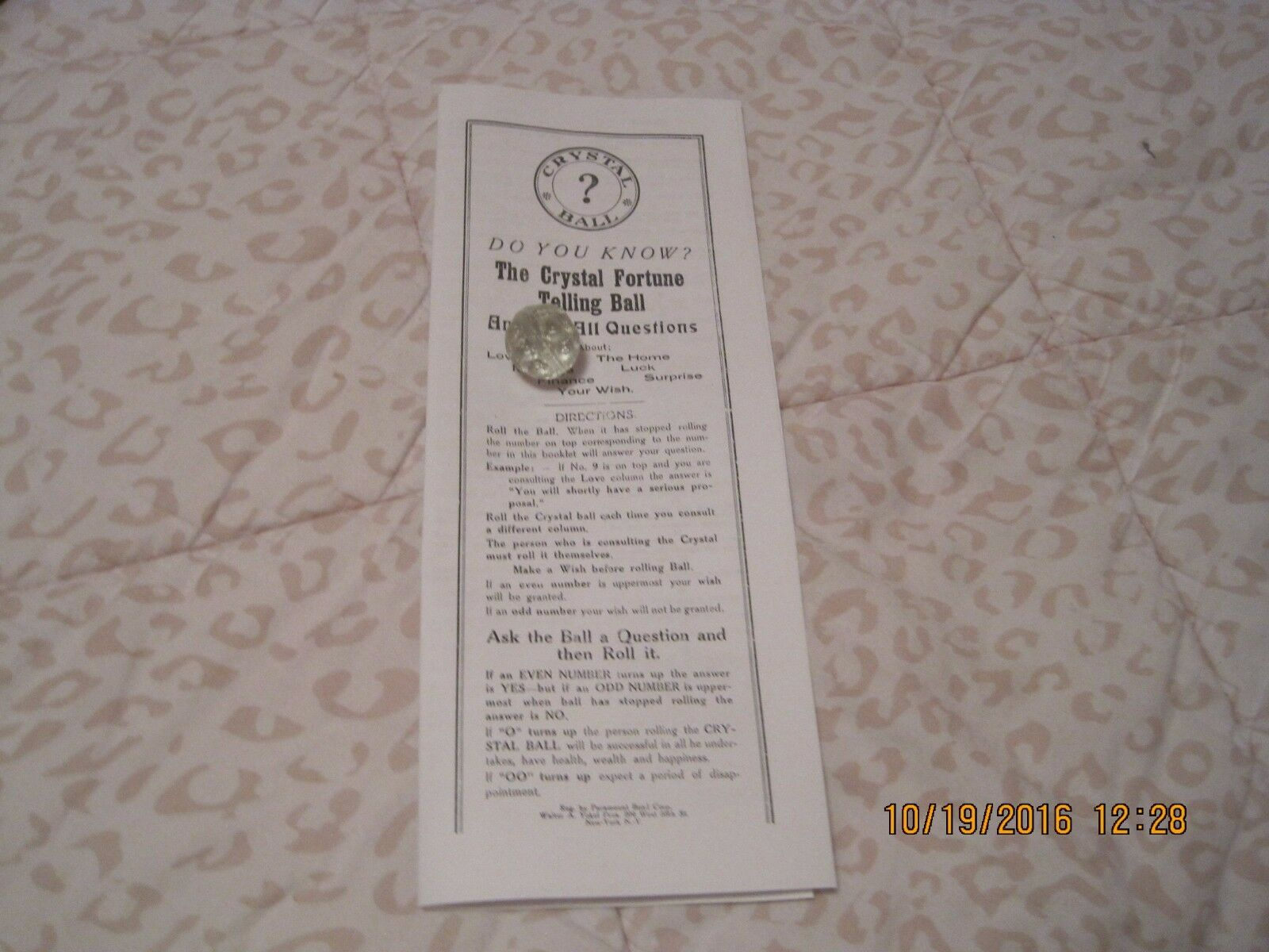 VINTAGE DO YOU KNOW CRYSTAL BALL FORTUNE TELLING GAME       OUIJA