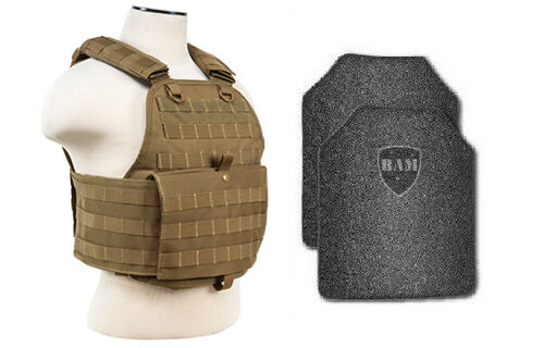 Body Armor   Bullet Proof Vest   AR500 Steel Plates   Base Frag Coating- PC TAN