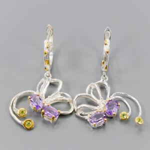Amethyst Earrings Silver 925 Sterling Handmade  /E43178