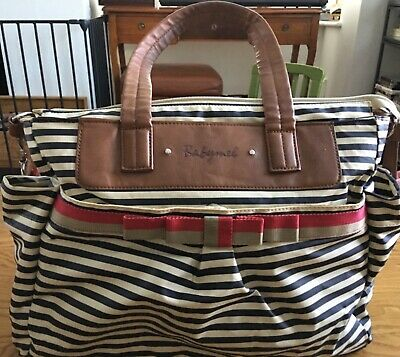 babymel cara stripe grey and black baby changing bag