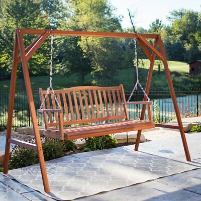 2 Piece Patio Swing And Stand Seating Set Outdoor Home Furniture Garden Yard Ebay