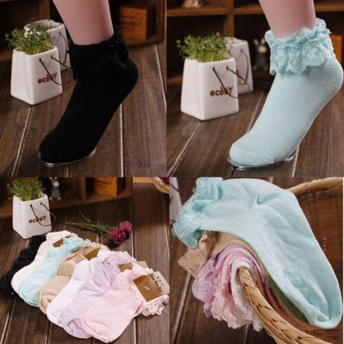 Women Girl Cute Sweet Women Ladies Vintage Lace Ruffle Frilly Ankle Socks