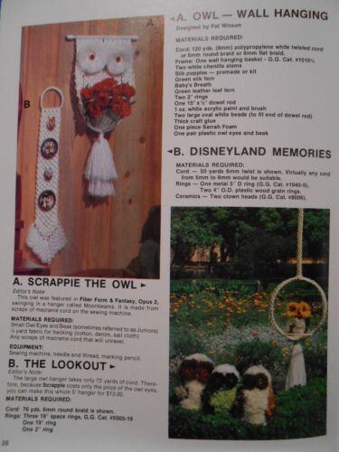 +more Vtg Macrame patterns: HAMMOCK LAMP SHADES HANGERS see pics OWLS
