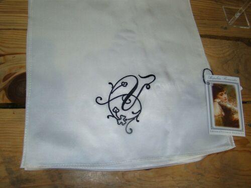Victorian Trading Co Heirloom V Monogrammed White Silk Scarf