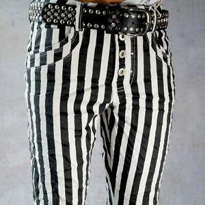 706e25f5d3948 Details zu ♥ JEWELLY Baggy Jeans Schwarz Weiß Gestreifte Hose Streifen  Knöpfe *43