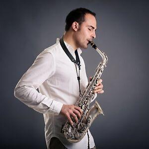 Chic-Saxophone-Sangle-de-cou-crochet-noir-en-cuir-reglable