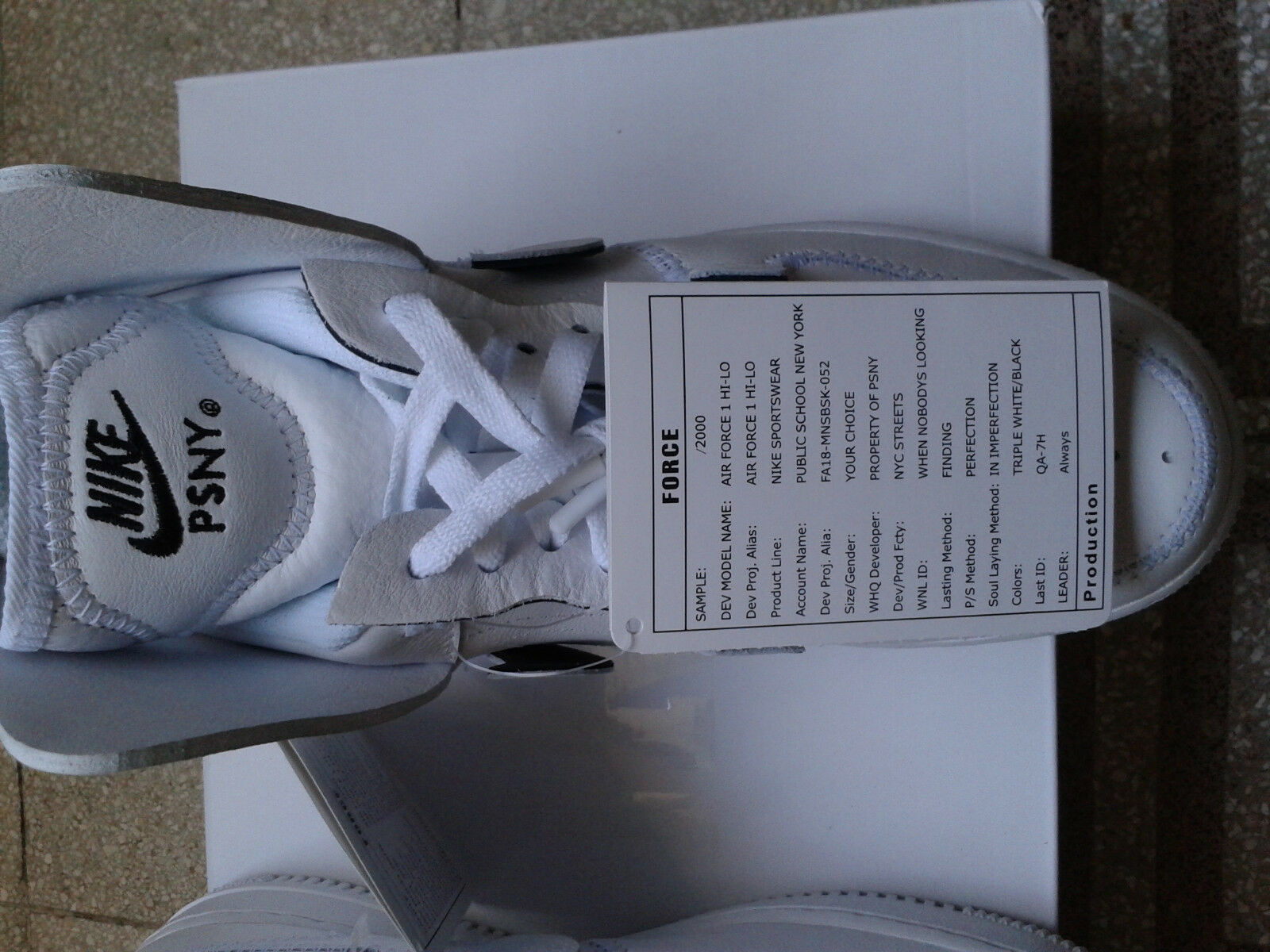 Nike Air Force Force Force 1 PSNY Silver/Sail/White  AO9292-100 US 7 25a777