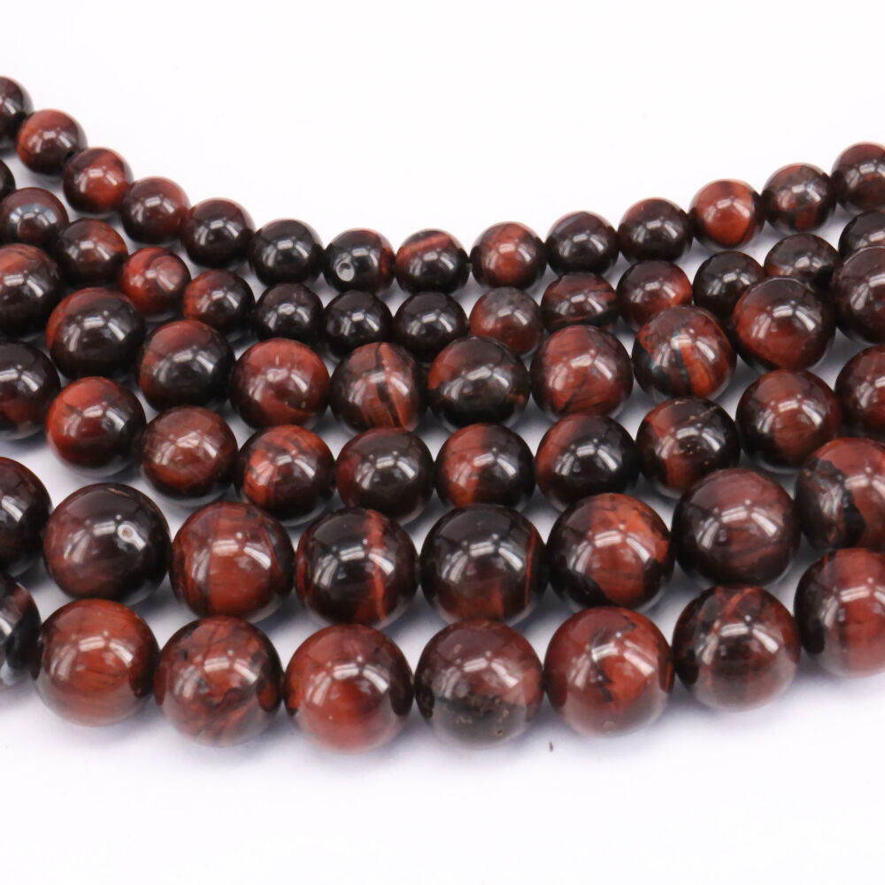 "15/"" Natural Red Tiger Eye Gemstone Round Loose Beads Jewelry Finding 4-10mm DIY"