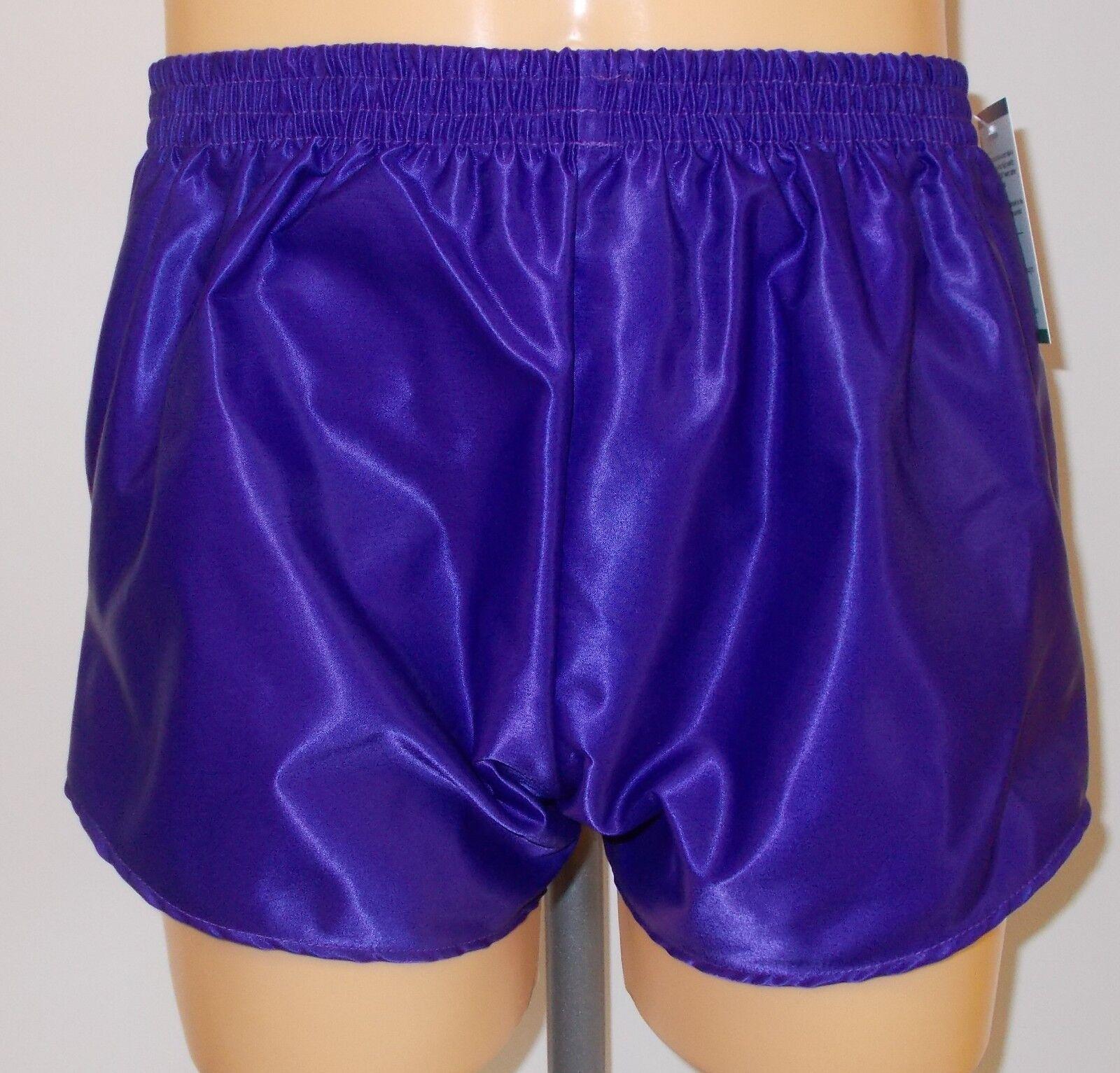 Retro Nylon Satin Fußball Shorts S zu 4XL, Einfarbig purplet