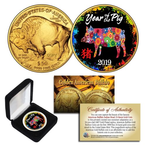 2019 Lunar New YEAR OF THE PIG 24K Gold Clad Buffalo Tribute Coin PolyChrome BOX