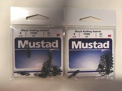 Size 4 8 Pack Mustad 77550-04 Rolling Swivel with Diamond Eye and J-Hook Snap