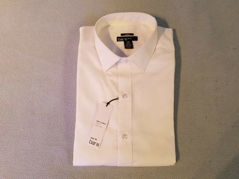 NEW Bar III Stretch Slim Fit White Dress Shirt Mens M 15-15.5 32 33