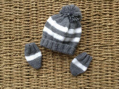 BRAND NEW HAND KNIT NEWBORN BABY GREY AND WHITE STRIPES POM POM HAT AND MITTS