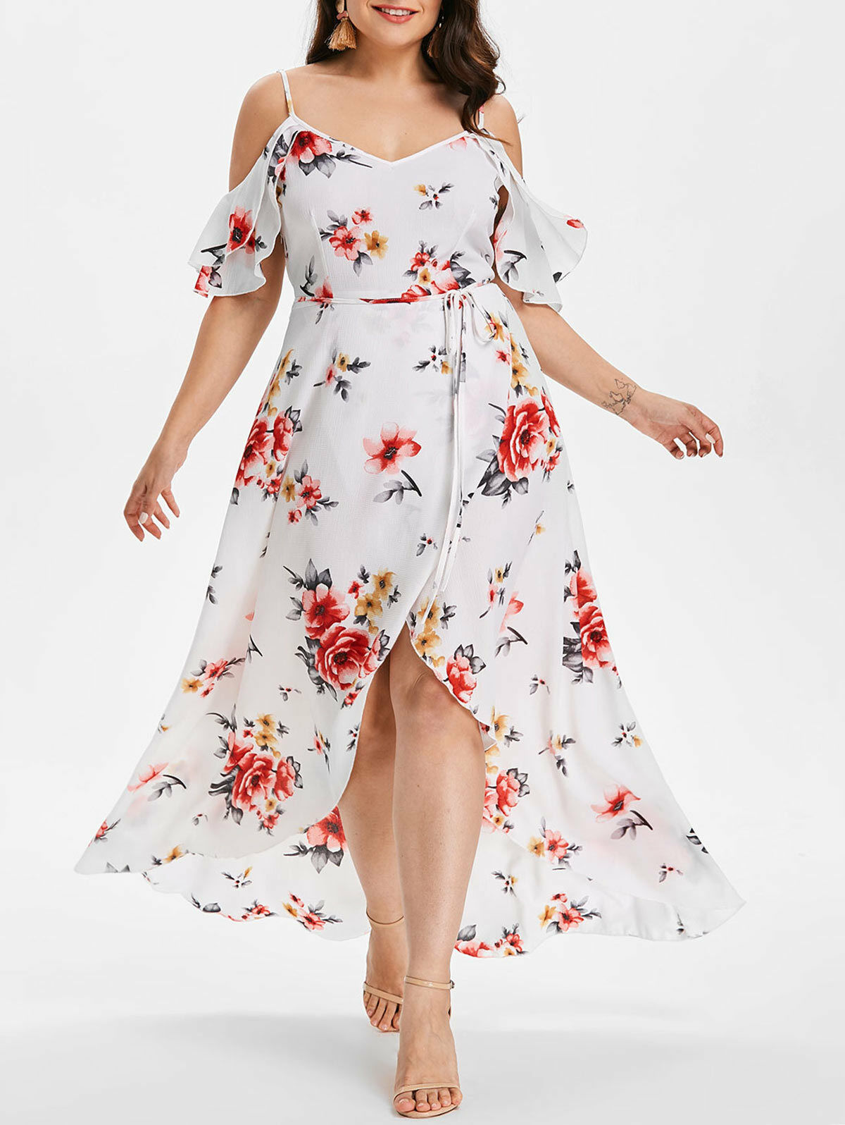 99a257ec9302 Plus Size Casual Dress Cold Dew Shoulder Floral Overlap Maxi Flowing Cut  Out. . SHIPPING: