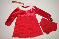 Infant 18 M Toddler 3t Girls Red Gold Eyelash Holiday Christmas Dress