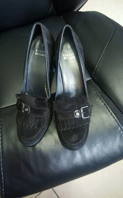 Black STUART WEITZMAN Suede Heels Pumps with buckle size 8M