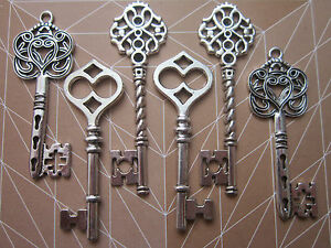 6 x steampunk antique silver skeleton keys wedding vintage style pendants charms - <span itemprop=availableAtOrFrom>Harlow, Essex, United Kingdom</span> - Returns accepted - Harlow, Essex, United Kingdom