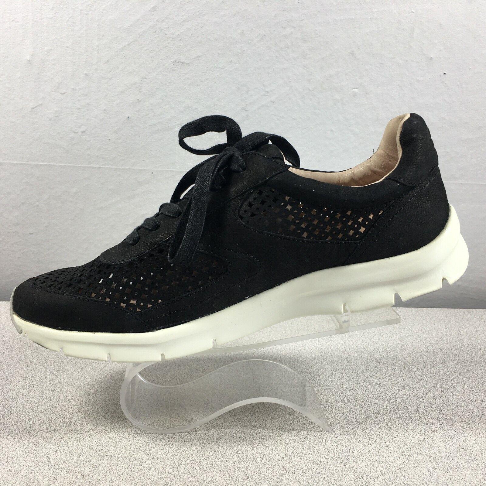 Sudini Tammi Fashion Sneaker Comfort Shoes Laser Cut Black Suede Size Womens 8 M