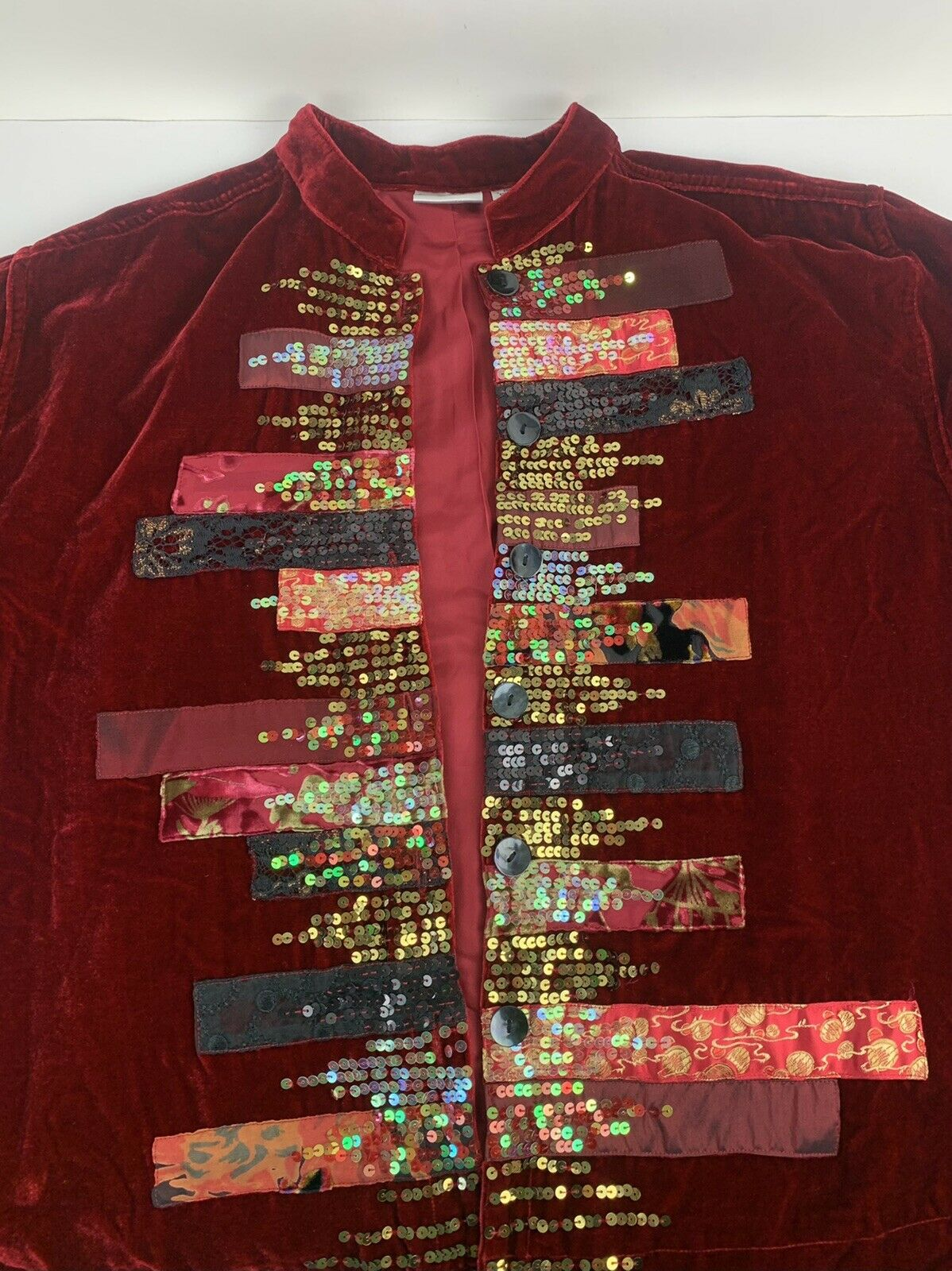 Chicos Womens Button Jacket Red Velvet Velour Ope… - image 5