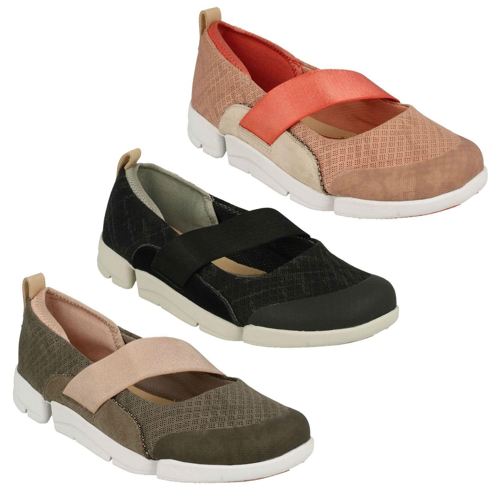 Damen Clarks Slipper Niedrige Absätze Elastisch Freizeit Sport Schuh Größe Pumps