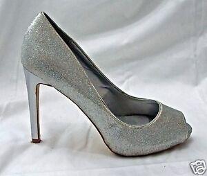 RSVP-Pumps-Peep-Toe-Macall-Silver-Glitter-Wedding-Bridal-Prom-Shoes-Heels-7-5