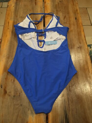 NEW Cupshe Vintage Blue  Plunge One Piece Swimsuit Lace Sz Large