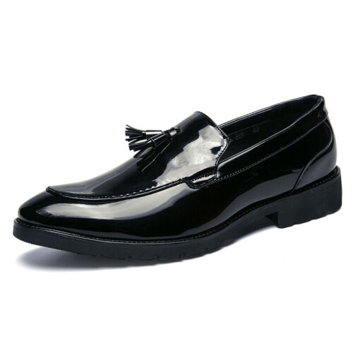 Details about  /Nightclub Mens Fashion Low Top Leather Shoes Shiny Tassels Pointy Toe Slip on Sz