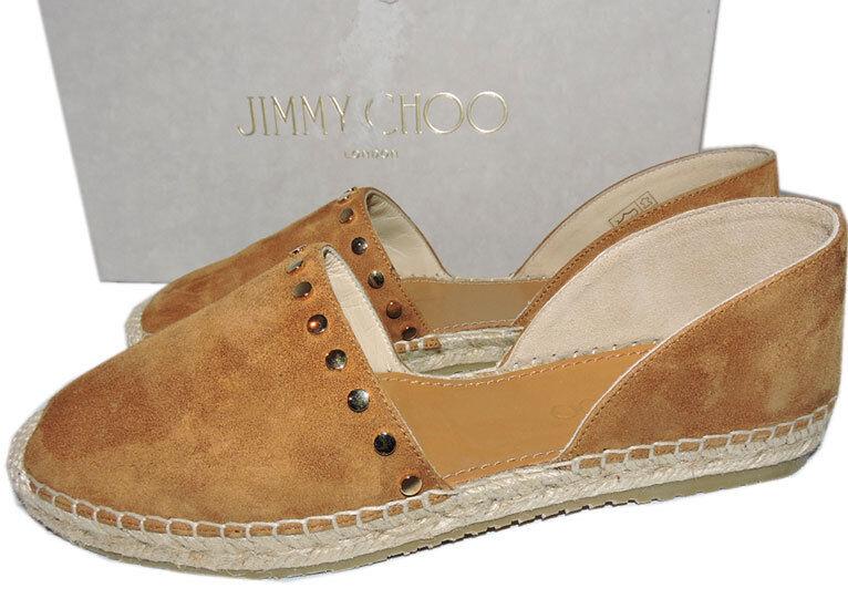 Jimmy Choo Dreya Hazel oro Studded Espadrille D'ORSAY Ballet Flats zapatos 36