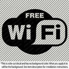 "FREE WIFI Store Front Vinyl Decal Sticker 3.25""X4.5"" Wireless Internet #0080"