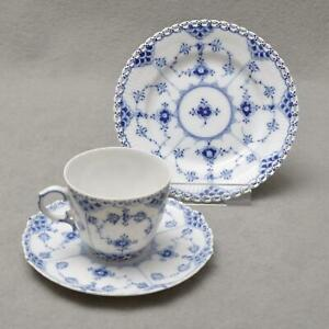 Royal-Copenhagen-Fluted-Full-Lace-3tlg-Coffee-Porcelain-1-Wahl-Cup-Mount