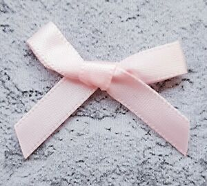 Baby-Pink-Small-Mini-Satin-Ribbon-Bows-Ready-Made-7mm-Wide-Arts-amp-Craft-Sewing