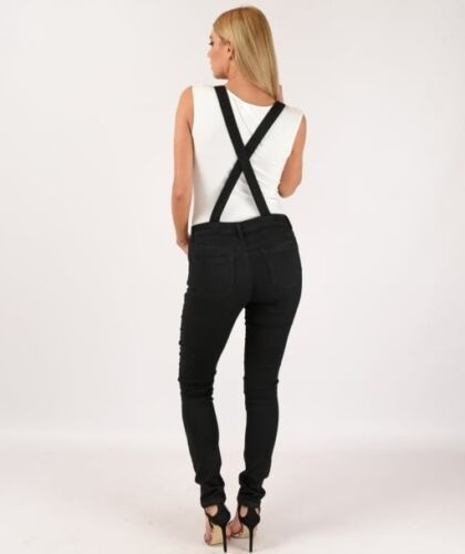 New Womens//Ladies Black Skinny Ripped Stretch Denim Dungarees Sizes 6 8 10 12 14