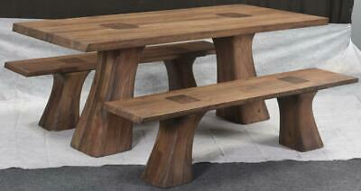 Contemporary Wood Dining Table Set Rodin Table 2 Bench Set 200cm Length Ebay