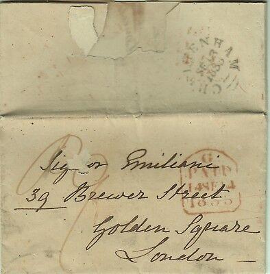 1091-regno Unito, Pref., Da Cheltenham A London, Testo In Italiano, 1833