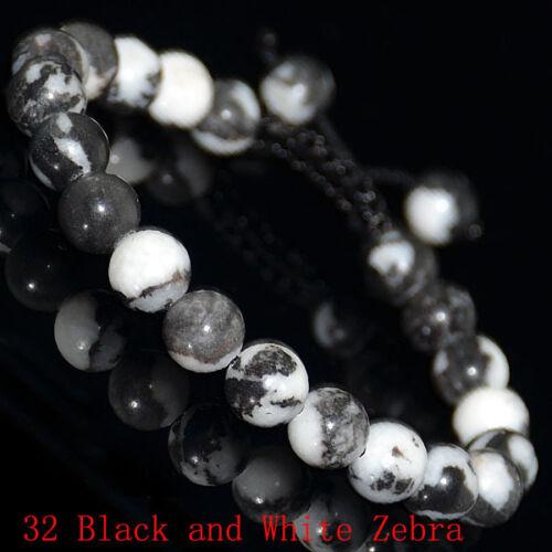 1PCS 8mm Natural Gemstones Braided Macrame Beads Bracelet Adjust Handmade