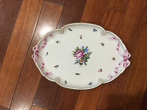 Vintage-Herend-Hungary-Hand-Painted-Porcelain-Tray-Platter-Floral-amp-Ribbon-Dec