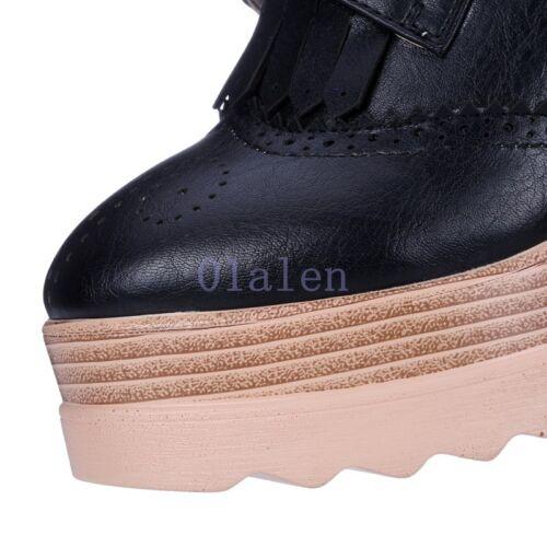 Details about  /Women/'s Chic Lace Up Retro Platform Oxford Block High Heels Brogues Tassel Shoe