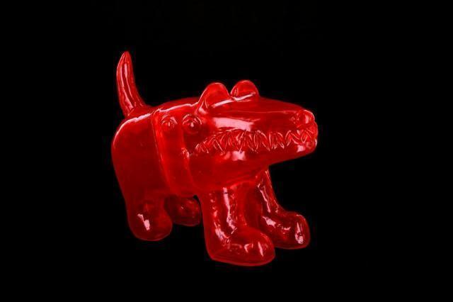 "WAODOG 3/"" SOFUBI KAIJU JAPAN LIMITED EDITION WAO DOG VINYL CLEAR RED CHIKO O.G"