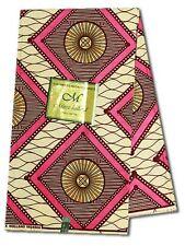 African Ankara Fabric ~ Pink, Burgundy & Tan, UK Import Wax Print ~ 6 Yards M321