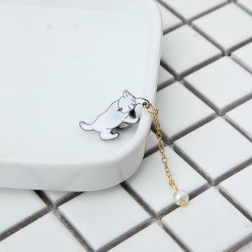 Brooch Little White Imitation Pearl Cat Pins Jewelry Women Accessories S3