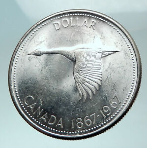 1967-CANADA-CANADIAN-Confederation-Founding-with-GOOSE-Silver-Dollar-Coin-i82054